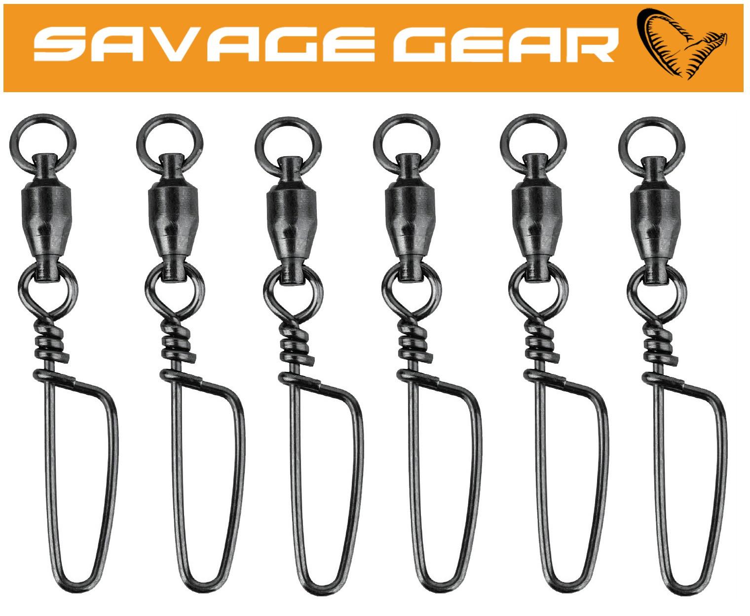 6 Wirbel Kugellagerwirbel zum Spinnfischen Savage Gear Ball Bearing Swivels