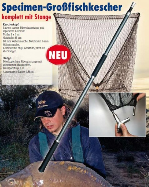 Karpfenkescher Großfischkescher Kescher Karpfen mit Alublock & Telestange